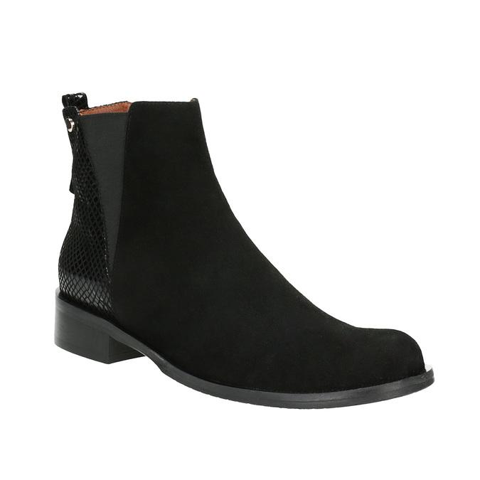 Kožená kotníčková obuv s pružnými boky bata, černá, 596-6643 - 13