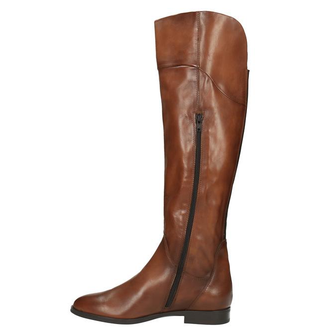 Hnědé kožené kozačky ke kolenům bata, hnědá, 594-4605 - 19