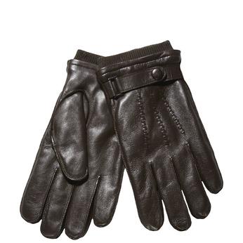 Pánské kožené rukavice s úpletem bata, hnědá, 904-4118 - 13