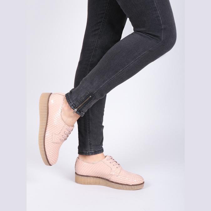 Dámské kožené polobotky bata, růžová, 526-5613 - 14
