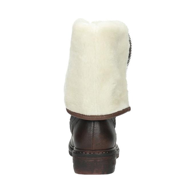 Kožená zimní obuv s kožíškem manas, hnědá, 596-4600 - 17