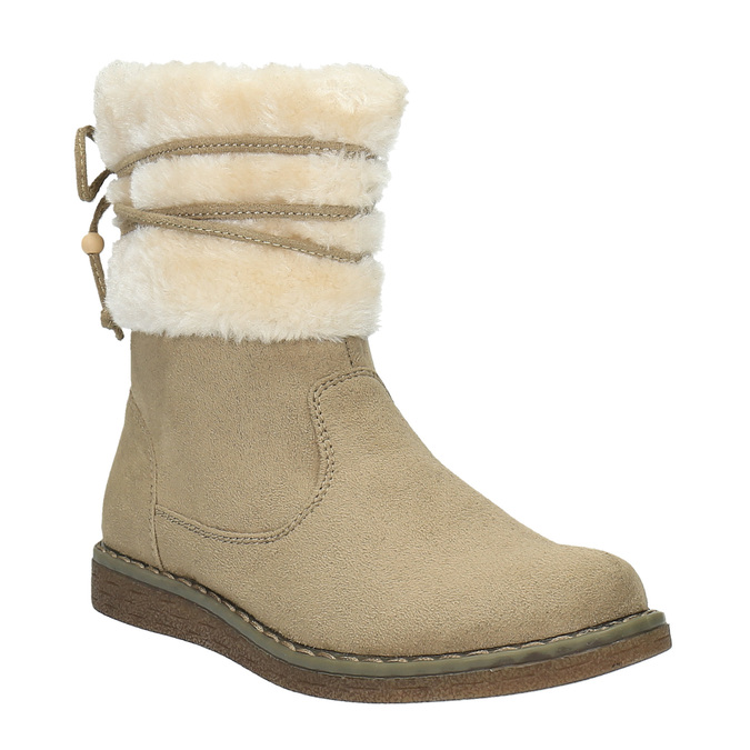 Dětská zimní obuv s kožíškem mini-b, hnědá, 399-8247 - 13