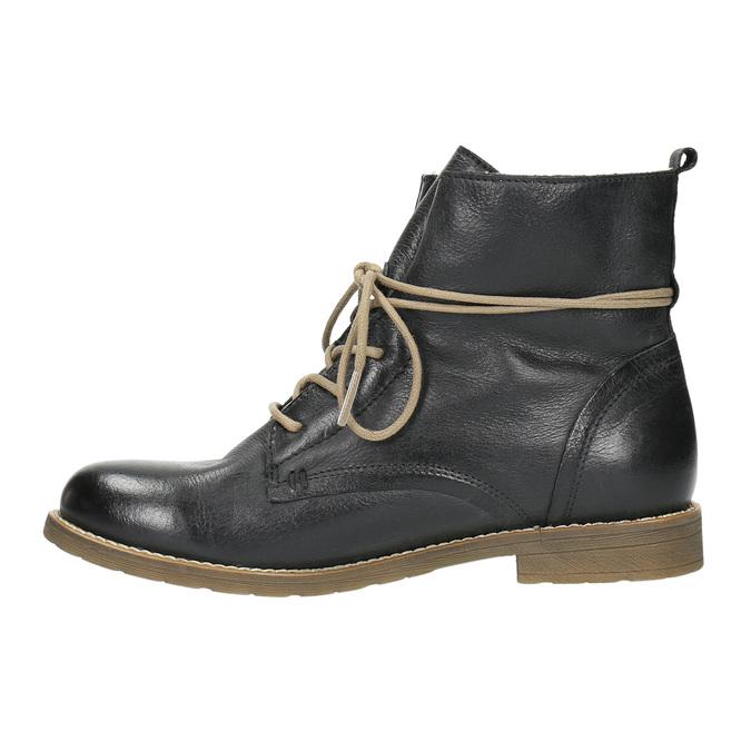 Kožená kotníčková obuv se zateplením bata, černá, 594-6610 - 26