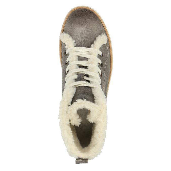 Kožené kotníčkové tenisky s kožíškem weinbrenner, šedá, 596-2627 - 19