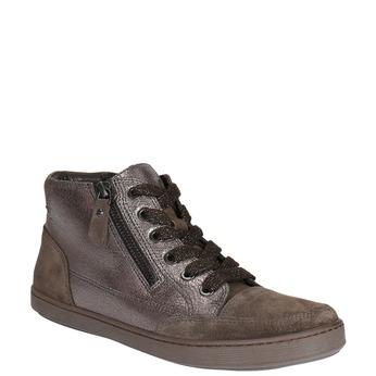 Dámské kožené kotníčkové tenisky bata, hnědá, 596-4613 - 13