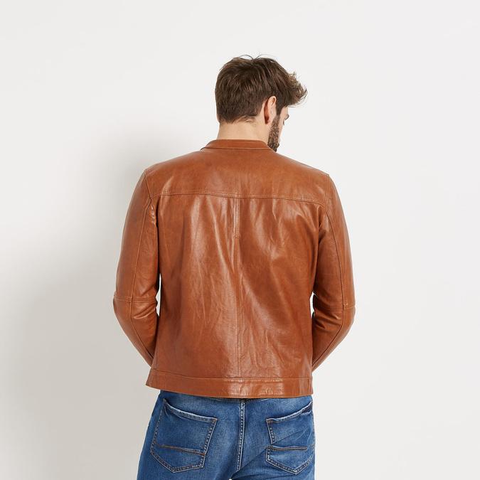Pánská kožená bunda se stylovým prošitím bata, hnědá, 974-3142 - 26