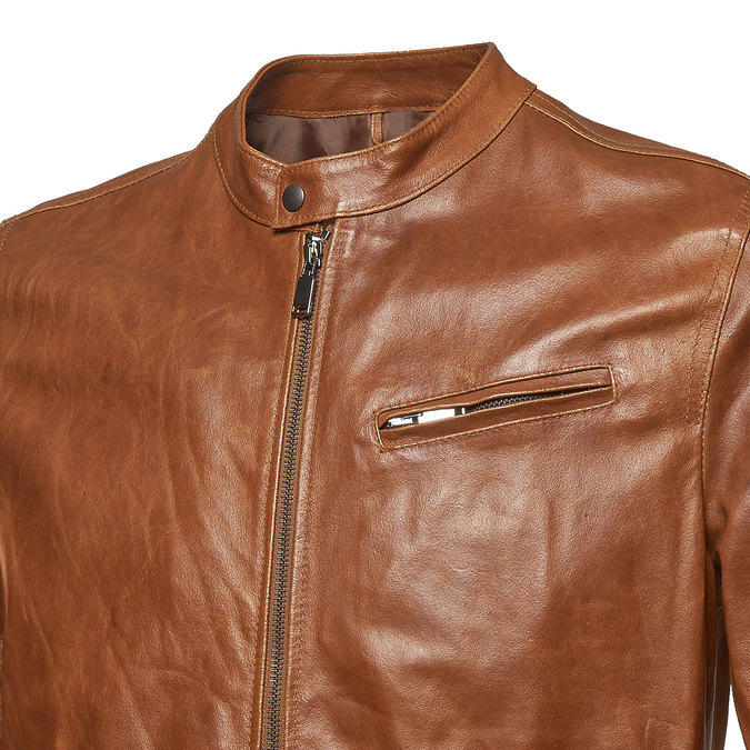 Pánská kožená bunda se stylovým prošitím bata, hnědá, 974-3142 - 16