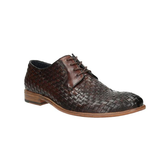 Celokožené polobotky s pleteným vzorem bata, hnědá, 826-3775 - 13