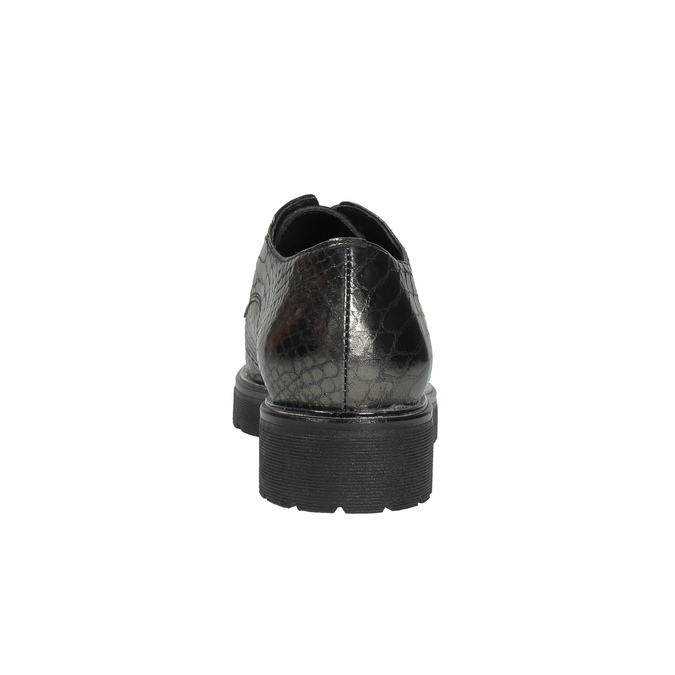 Metalické kožené polobotky na výrazné podešvi bata, zelená, 526-7607 - 17