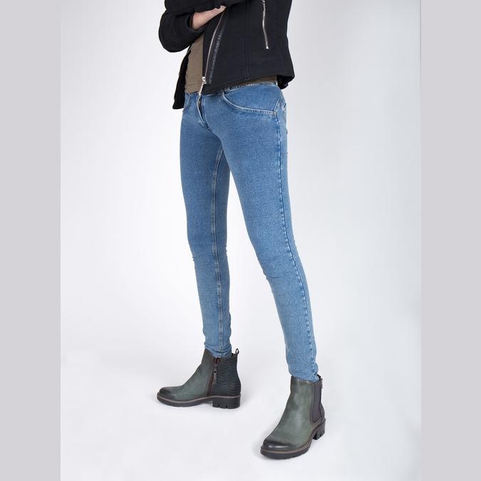 Kožená kotníčková obuv na výrazné podešvi bata, tyrkysová, 596-9615 - 18