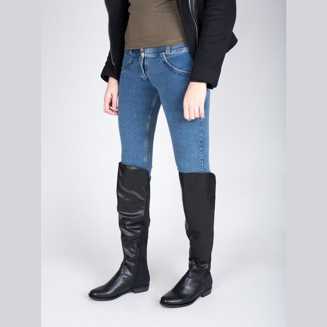 Dámské kozačky nad kolena bata, černá, 591-6604 - 18