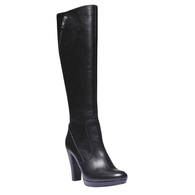 Kožené kozačky na podpatku bata, černá, 794-6602 - 13