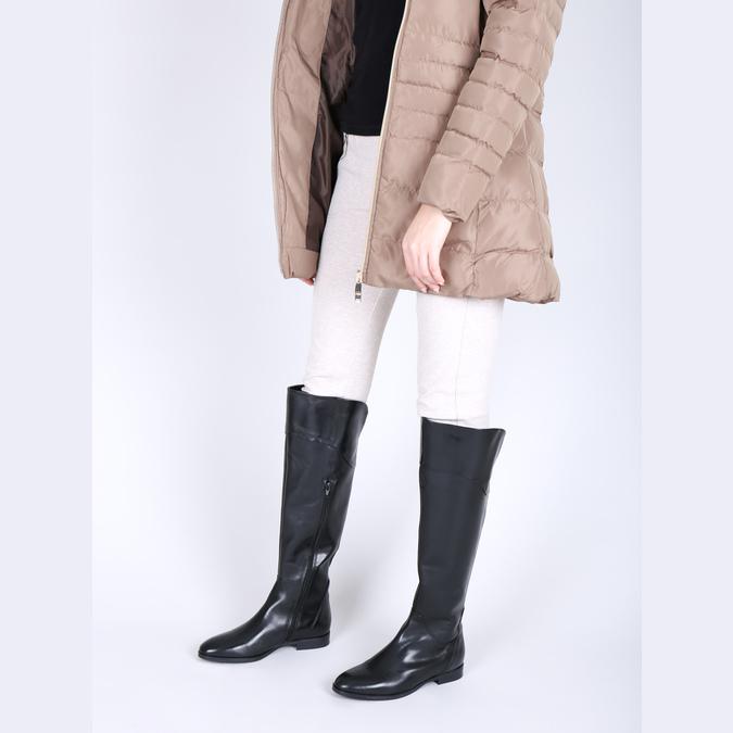 Dámské kožené kozačky ke kolenům bata, černá, 594-6605 - 18