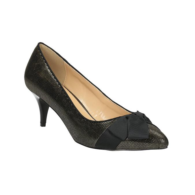 Lodičky s mašlí bata, zlatá, černá, 629-8630 - 13