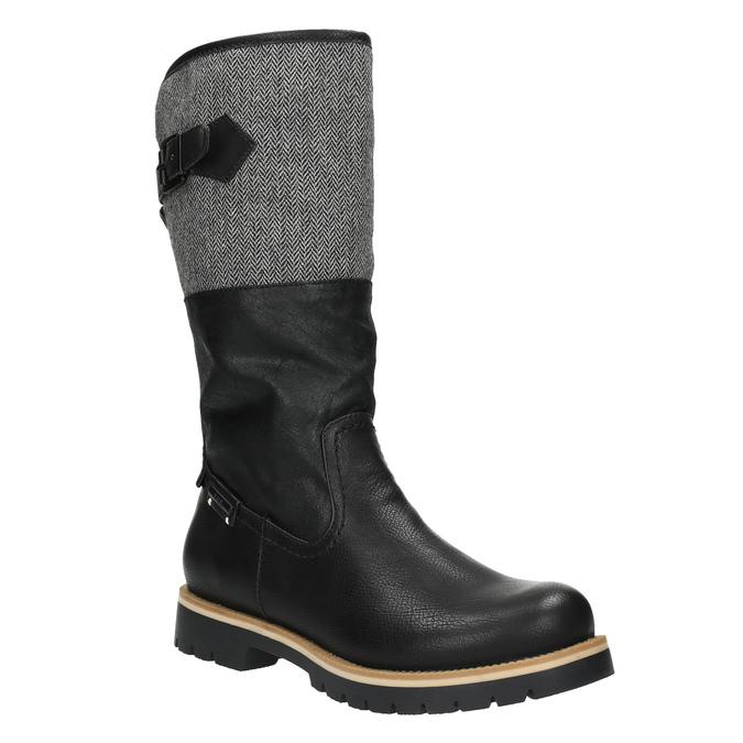 Kozačky na výrazné podešvi bata, černá, 591-6608 - 13