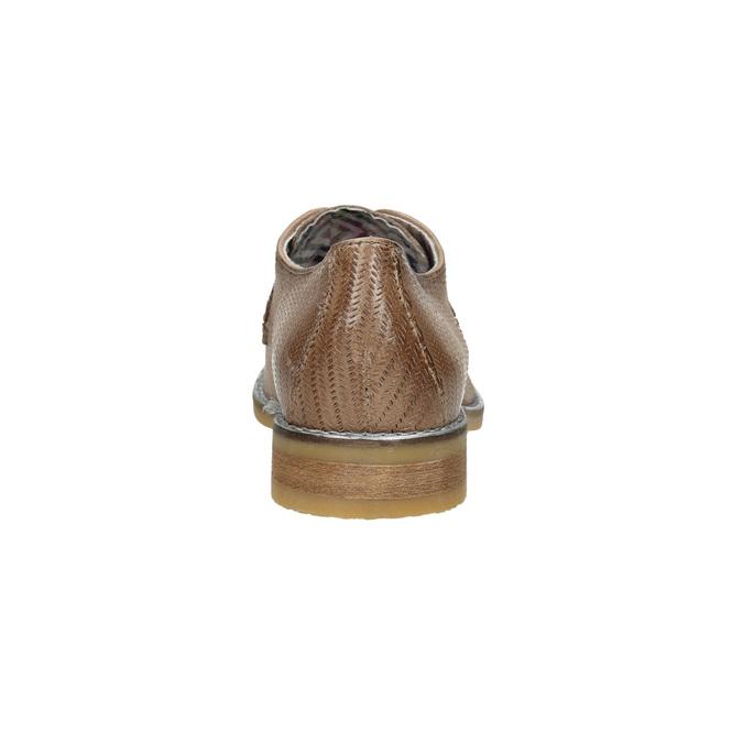 Dámské kožené polobotky s perforací bata, hnědá, 526-4621 - 17