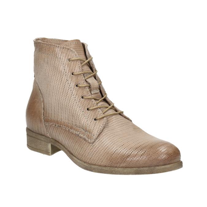 Kožená kotníčková obuv s perforovaným vzorem bata, hnědá, 596-4646 - 13