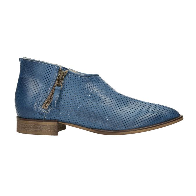 Kožené kotníčkové kozačky s perforací bata, modrá, 596-9647 - 15