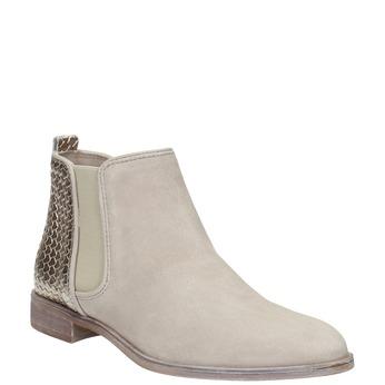 Kožené kotníčkové kozačky s pružnými boky bata, šedá, 596-2652 - 13