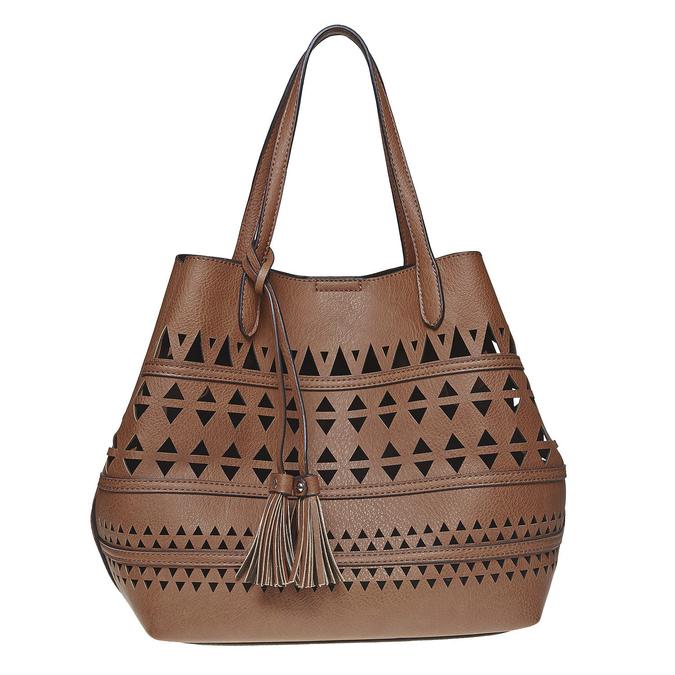 Perforovaná dámská kabelka bata, hnědá, 961-3274 - 26