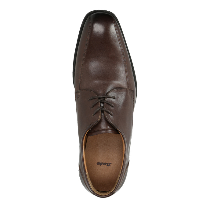 Pánské kožené polobotky s prošitím přes špici bata, hnědá, 824-4815 - 19