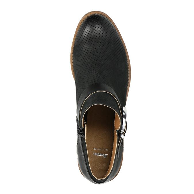 Kožená kotníčková obuv se sponou bata, černá, 596-6634 - 19