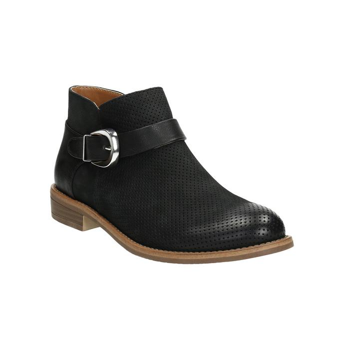 Kožená kotníčková obuv se sponou bata, černá, 596-6634 - 13
