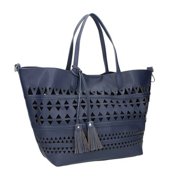 Modrá kabelka se střapci bata, modrá, 961-9274 - 13