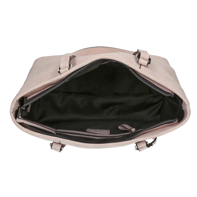 Růžová kabelka s perforovaným detailem bata, růžová, 961-5711 - 15