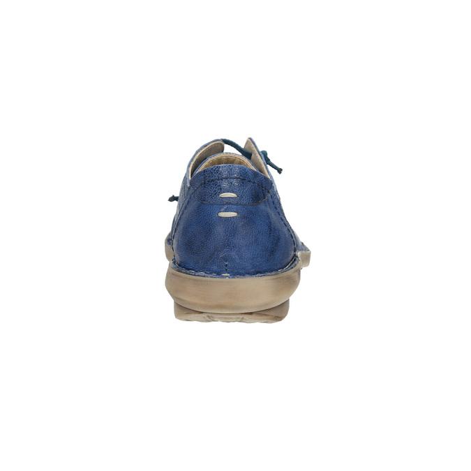 Modré kožené polobotky v ležérním stylu bata, modrá, 526-9624 - 17