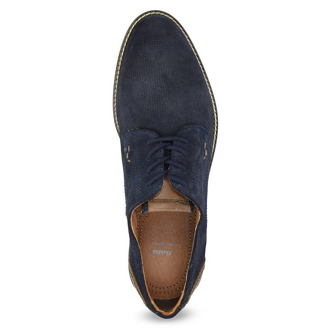 Kožené polobotky s pruhovanou podešví bata, modrá, 823-9600 - 17
