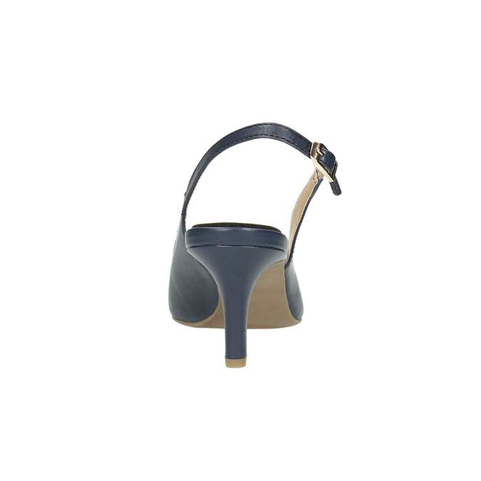 Kožené dámské lodičky Sling-back pillow-padding, modrá, 624-9638 - 17