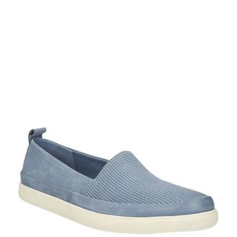 Dámská kožená obuv s perforací bata, modrá, 516-9601 - 13