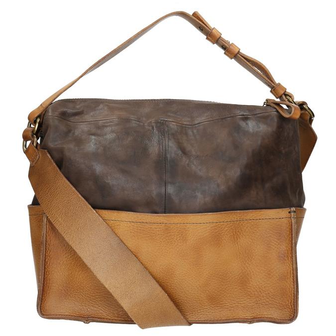 Kožená kabelka s masivním popruhem a-s-98, hnědá, 966-4038 - 19