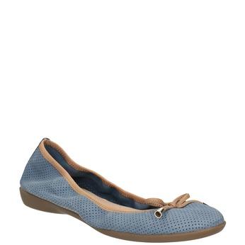 Kožené modré baleríny s pružným lemem bata, modrá, 526-9617 - 13