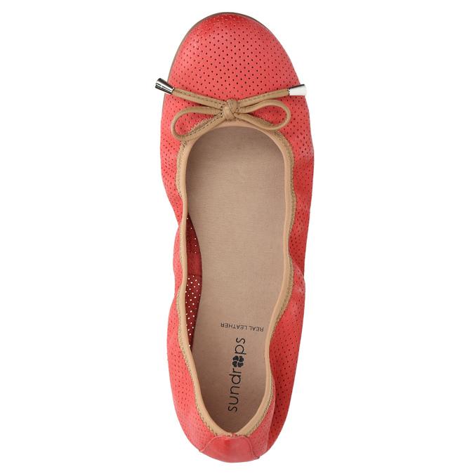 Červené baleríny s pružným lemem bata, červená, 526-5617 - 19