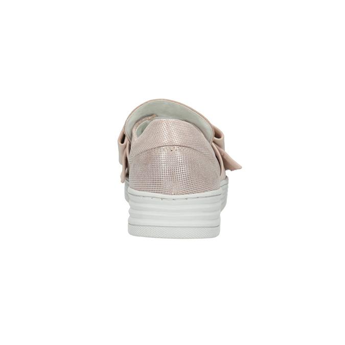 Kožená Slip-on obuv s mašlí bata, růžová, 516-5605 - 17