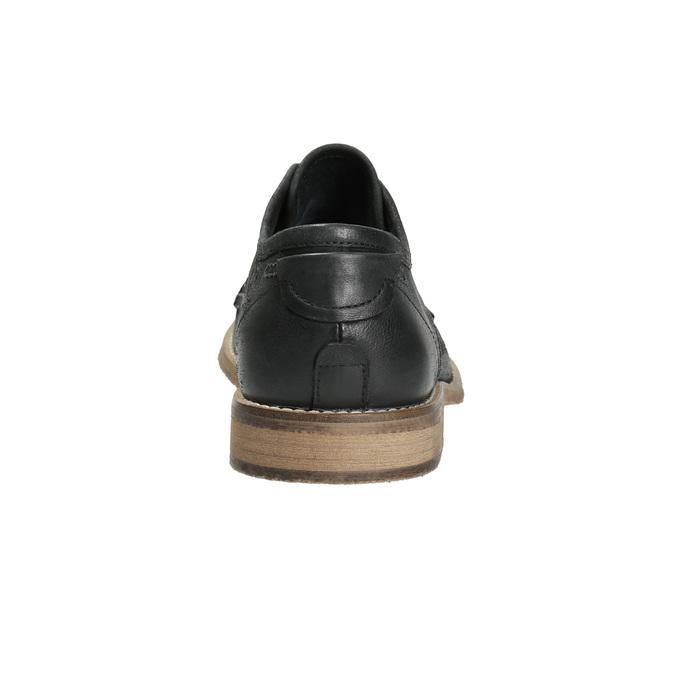 Kožené pánské polobotky s výrazným prošitím bata, černá, 826-6815 - 17