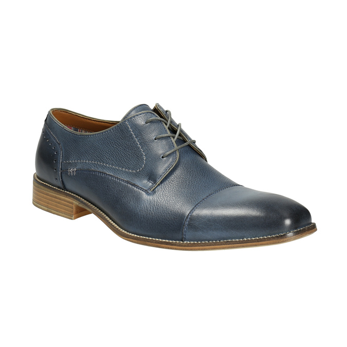 Modré kožené polobotky bata, modrá, 826-9801 - 13