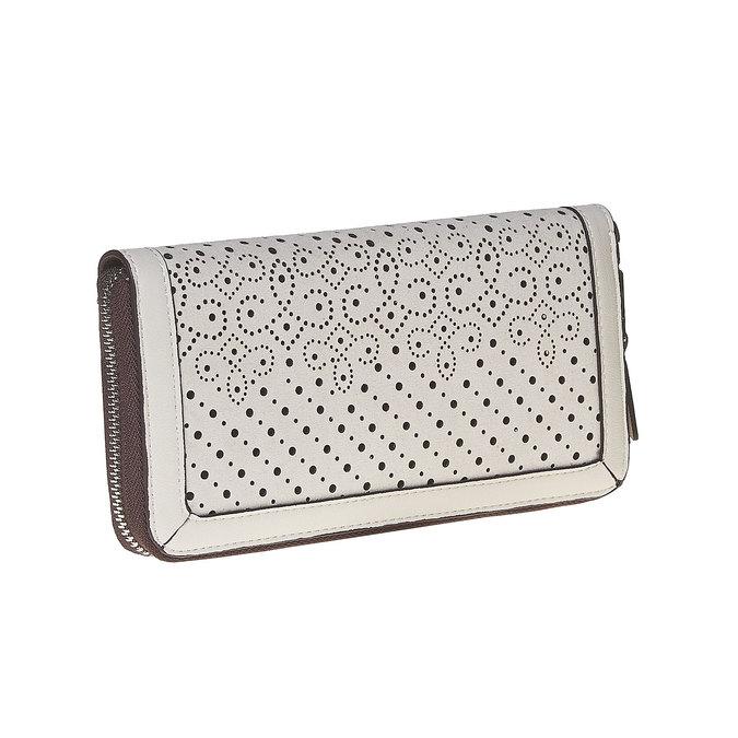 Dámská peněženka s perforací bata, bílá, 941-1147 - 13