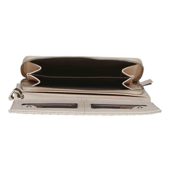 Krémová dámská peněženka s poutkem bata, béžová, 941-8148 - 15