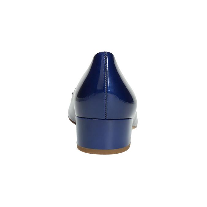 Kožené lodičky s mašlí hogl, modrá, 628-9400 - 17