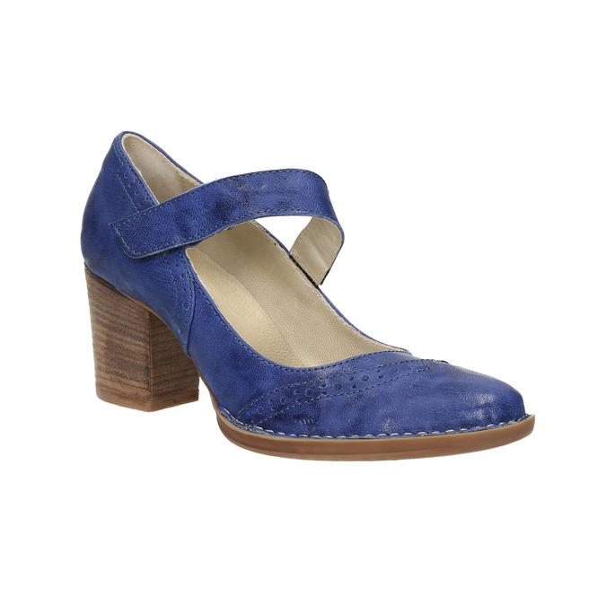 Kožené lodičky s páskem přes nárt bata, modrá, 626-9641 - 13