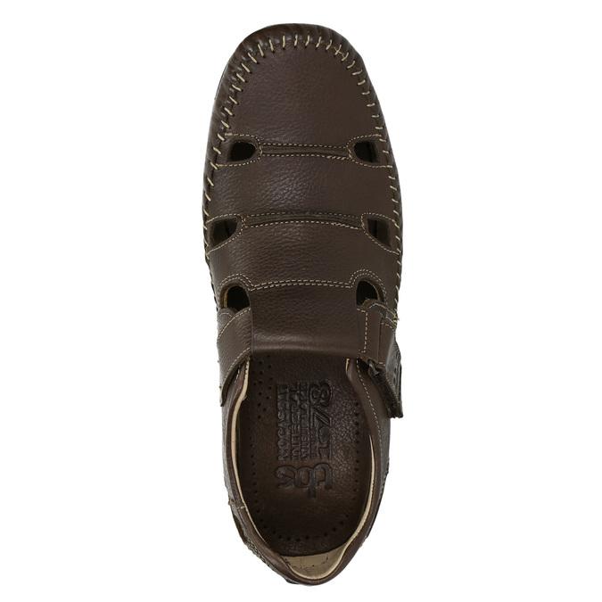 Pánské kožené sandály tbs-, hnědá, 814-4004 - 19