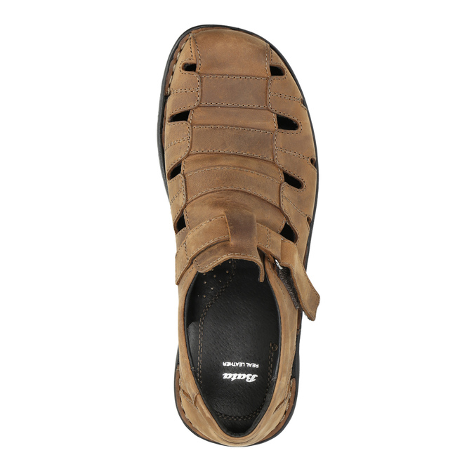 Kožené pánské sandály hnědé bata, hnědá, 864-4600 - 19