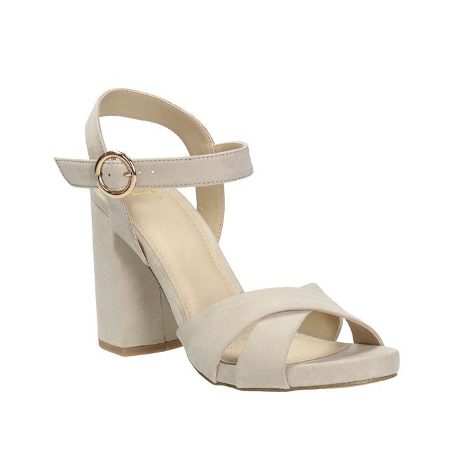 Dámské sandály na masivním podpatku bata, béžová, 769-8602 - 13