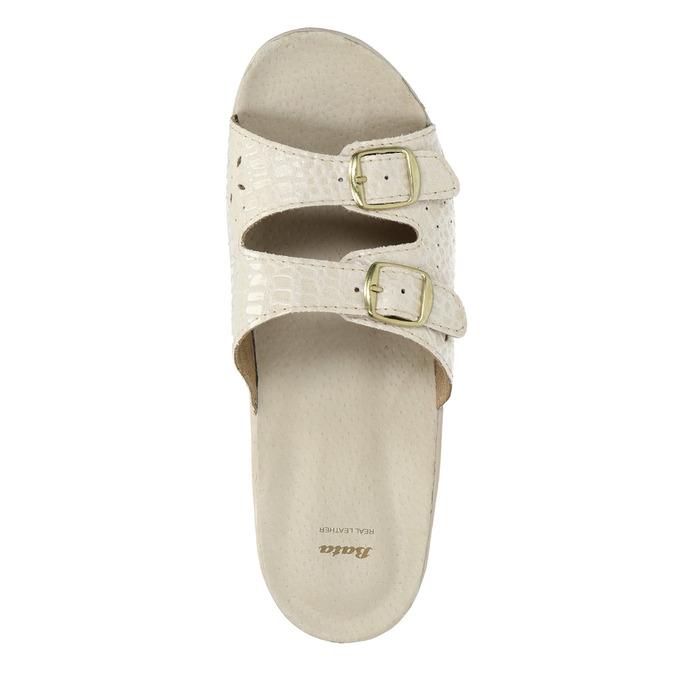 Dámská domácí obuv na podpatku bata, béžová, 579-8611 - 19