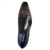 Černé kožené polobotky s propletením melvinandhamilton, černá, 826-6055 - 19