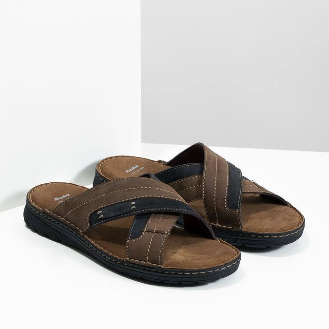 Kožené pánské letní nazouváky bata, hnědá, 866-4612 - 26