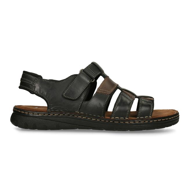 Černo-hnědé pánské kožené sandály bata, hnědá, 866-4610 - 19